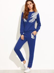 Blue Angel Wings Print Sweatshirt With Pants