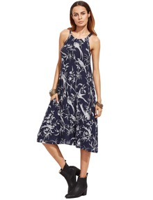 Navy Halter Floral Birds Print Pockets Dress