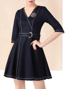 Navy V Neck Belted Denim A-Line Dress