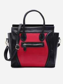 Black and Red Pebbled PU Handbag With Strap