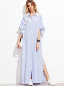 Blue Vertical Striped Contrast Collar Oversized Shirt Dress