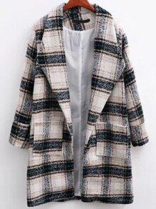 White Plaid Shawl Collar Coat With Pocket