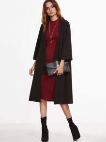 Black 3/4 Sleeve Collarless Duster Coat