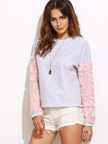 Heather Grey Textured Faux Fur Sleeve Sweatshirt