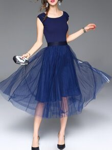 Blue Striped Pleated A-Line Dress