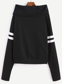 Black Cowl Neck Varsity Striped Sleeve Sweatshirt