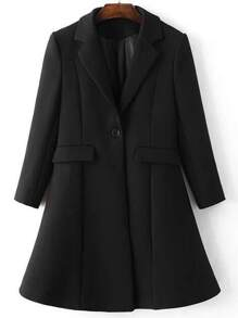 Black Lapel Single Button Longline Coat