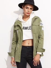 Olive Green Letter Print Elastic Waist Utility Jacket