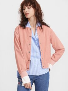 Pink Ribbed Trim Button Up Cord Bomber Jacket