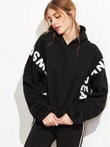 Black Letter Print Batwing Sleeve Hooded Sweatshirt