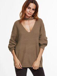 Khaki Drop Shoulder Cut Out Loose Sweater