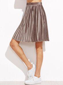 Metallic Brown Pleated Skirt