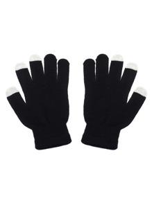 Black And White Knit Telefingers Gloves