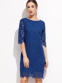 Royal Blue V Back Scallop Hem Lace Dress