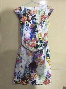 Floral Print Sheath Dress With Belt