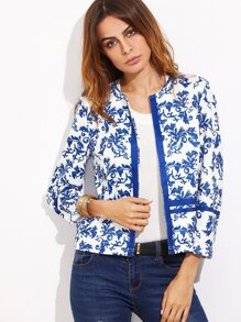 Blue And White Vine Print Open Front Blazer