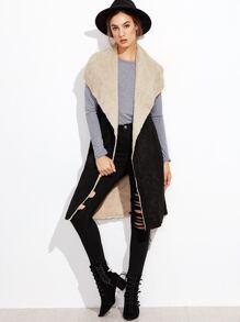 Black Oversized Drape Collar Faux Shearling Vest