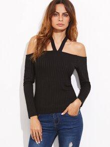 Black Halter Cold Shoulder Ribbed T-shirt