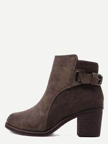 Brown Sneakerskin Leather Embellished Buckle Strap Cork Heel Booties