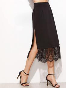 Black Contrast Lace Split Side Skirt