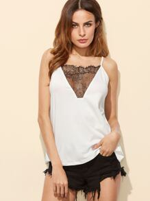 White Contrast Lace Insert Cutout Back Cami Top