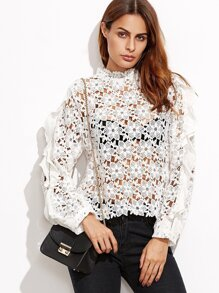 White Hollow Out Embroidered Lace Top