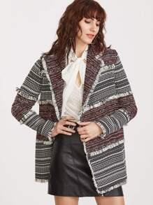 Multicolor Lapel Fringe Detail Coat