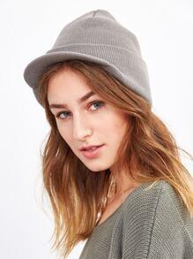Light Grey Ribbed Foldover Knit Hat