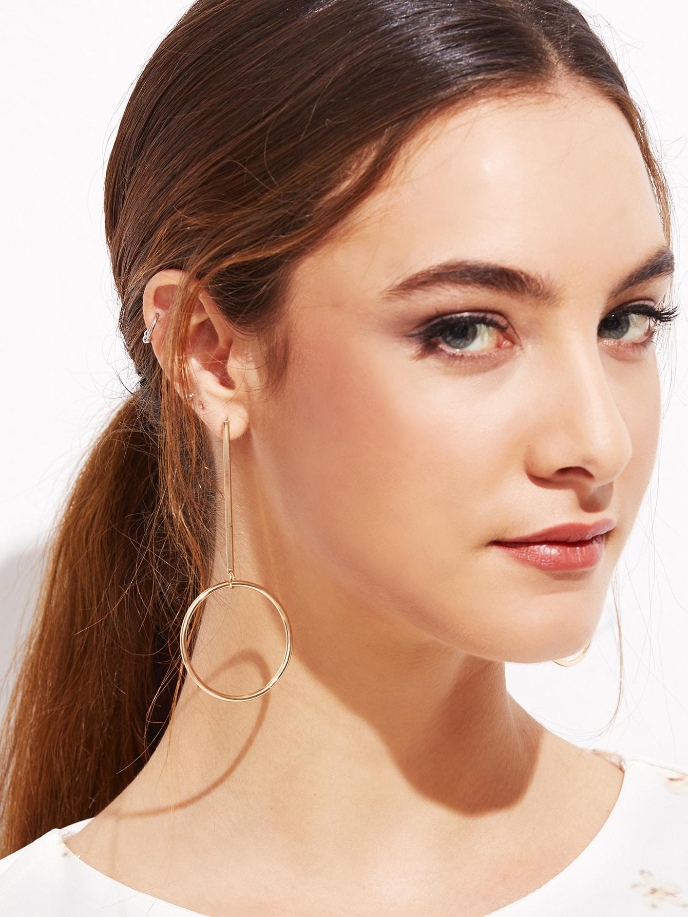 Gold Plated Hollow Circle Bar Long Drop Earrings EmmaCloth-Women ...