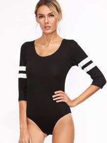 Black Scoop Neck Varsity Striped Sleeve Bodysuit