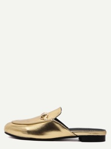 Gold Faux Leather Flat Loafer Slippers
