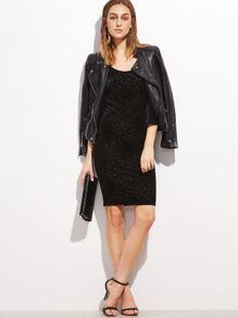 Black Textured Velvet Bell Sleeve Bodycon Dress