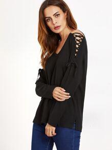 Black V Neck Lace Up Shoulder Sweater