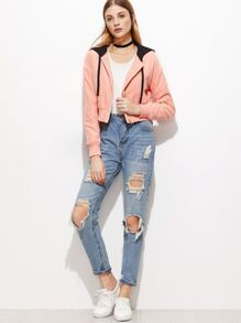 Pink Contrast Hood Zip Up Crop Jacket