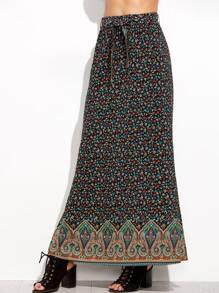 Tribal Print Elastic Waist Split Side Skirt
