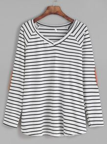 Contrast Striped V Neck Elbow Patch T-shirt
