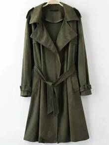 Army Green Lapel Suede Trench Coat With Belt