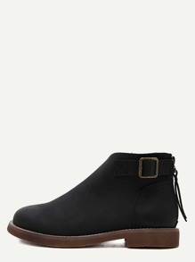 Black Faux Leather Buckle Strap Ankle Booties