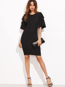 Black Layered Ruffle Sleeve Ribbed Sheath Dress