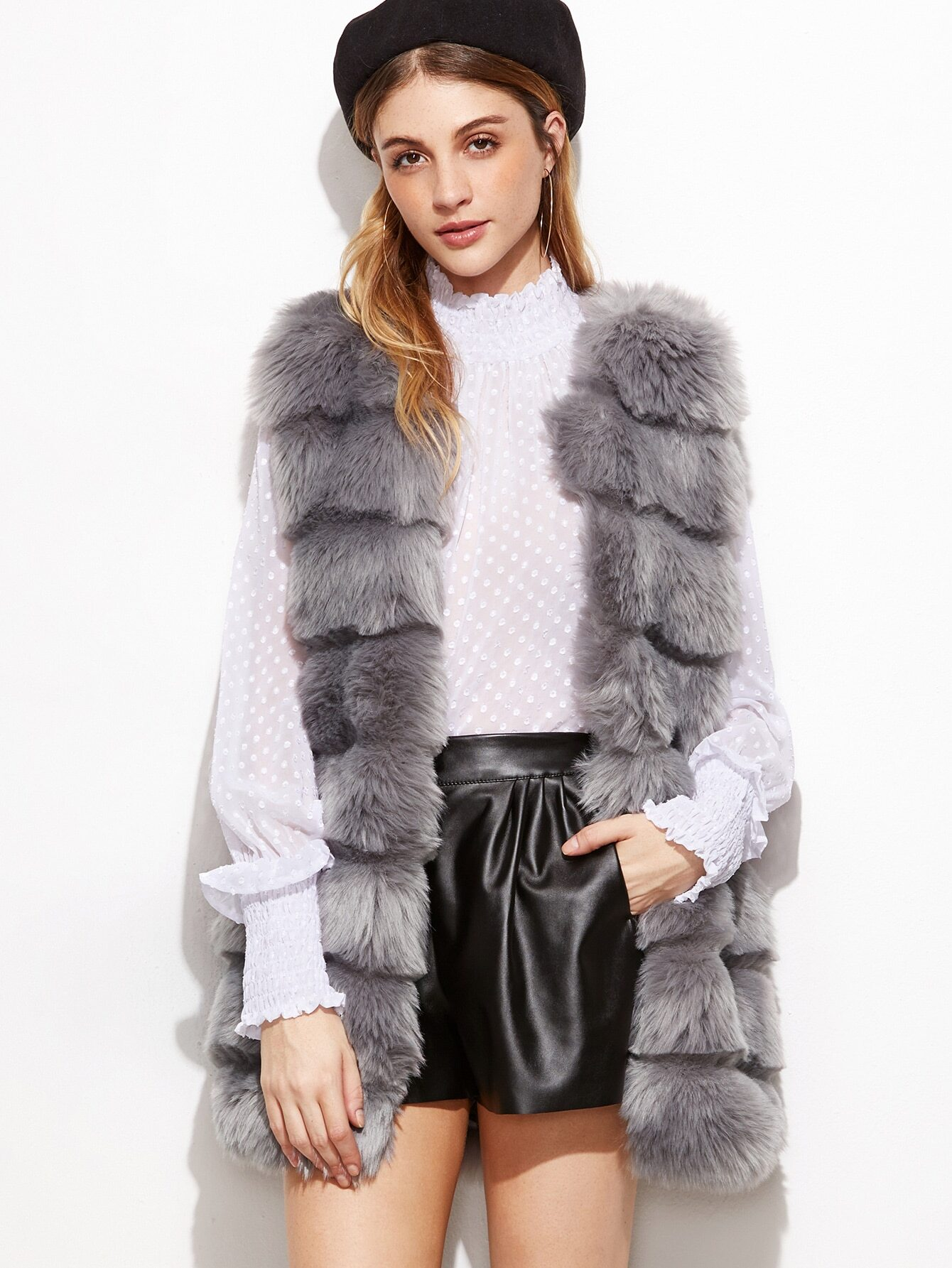 Shop our line of women's faux fur vests available in a variety of lengths with zip and hook closures and featuring a wide array of colors and animal prints.