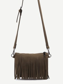 Green Nubuck Leather Fringe Zip Closure Crossbody Bag