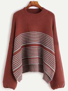 Rust Striped Drop Shoulder High Low Sweater