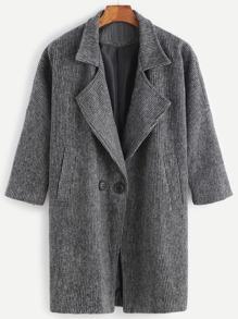 Black Striped Drop Shoulder Pockets Coat