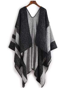 Black Mottled Stripe Shawl Scarf