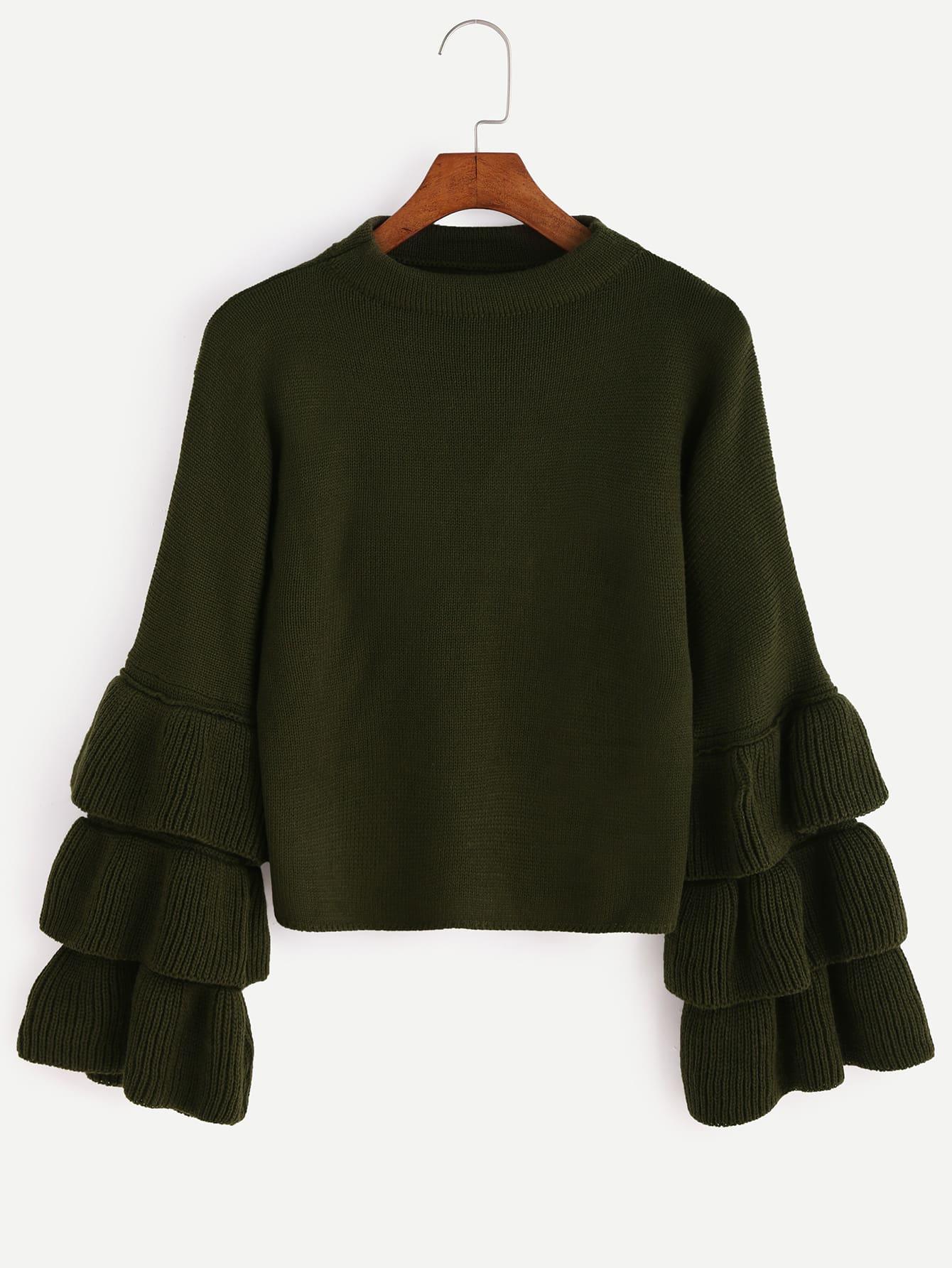 Olive Green Layered Ruffle Sleeve Sweater EmmaCloth-Women Fast ...