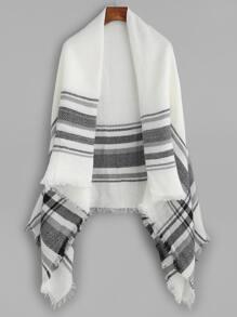 Black And White Plaid Stripe Fringe Shawl Scarf