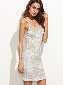 Beige Embroidered Velvet Cami Dress