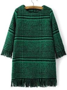 Green Houndstooth Fringe Detail Zipper Back Dress
