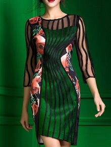 Green Sheer Disc Flowers Print Asymmetric Dress