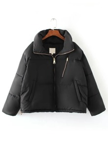 Black Zipper Up Loose Padded Coat